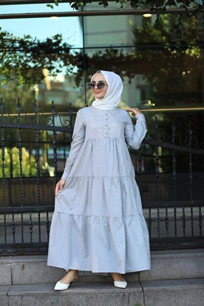 EKABE Kadın Mavi Tesettür Elbise
