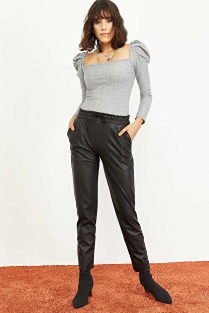 Bianco Lucci Kadın Siyah Beli Lastkli İçi Şardonlu Cepli Deri Pantolon 1008W1004