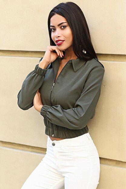 Womenice Kadın Haki Fermuarlı Apoletli Ceket