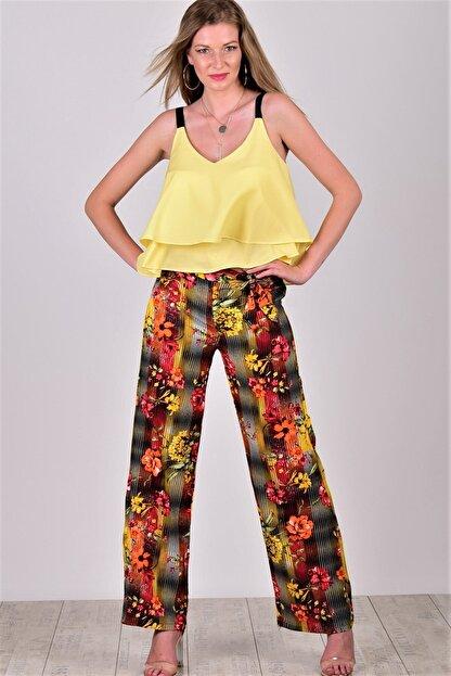 Womenice Kadın Sarı Desenli Beli Lastikli Bol Paça Viskon Pantolon