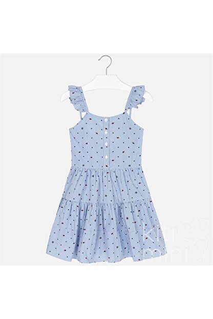 Mayoral Kız Çocuk Mavi Çizgili Askılı Elbise