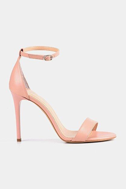 Hotiç Hakiki Deri Pudra Kadın Topuklu Sandalet