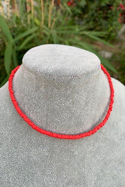 İsabella Accessories Kadın Renkli Fimo Boncuk Kolye Kırmızı Yeni Trend Kolye