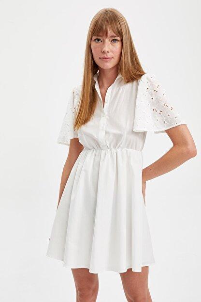 Defacto Kadın Beyaz Mini Boy Güpür Detaylı Gömlek Elbise S4879AZ20HS
