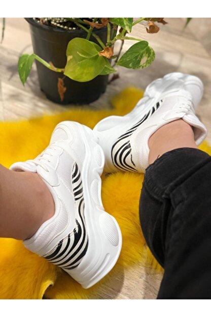 Mika Kadın Beyaz Desenli Spor Ayakkabı