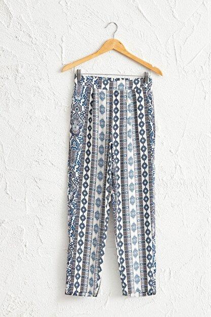 LC Waikiki Kadın Ekru Baskılı Pantolon 0S1637Z8