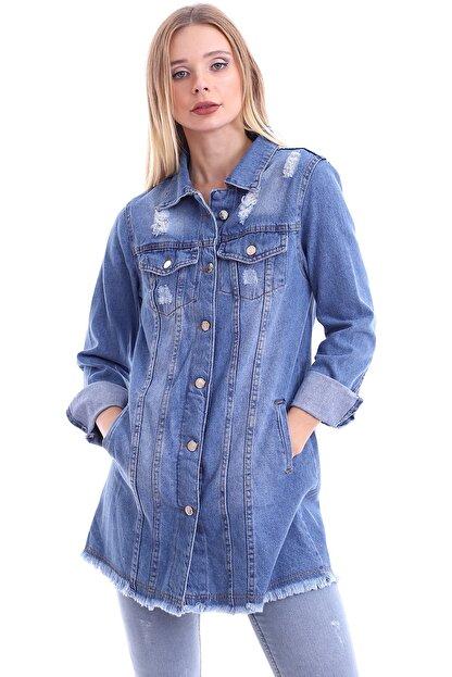 My Style Kadın Buz Mavi Dilek Kot Ceket