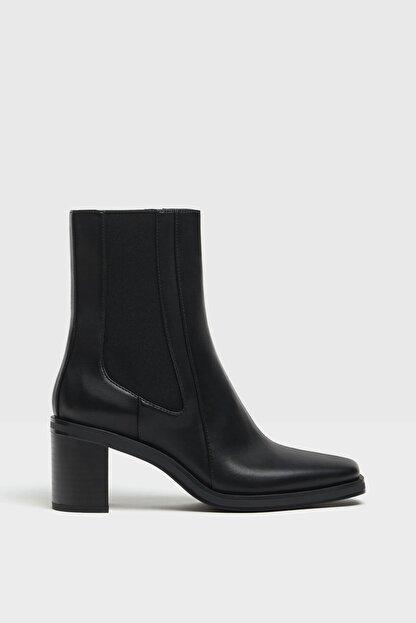 Bershka Kadın Siyah Topuklu Bot