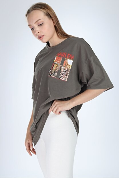 Millionaire Kadın Haki Harlem Baskılı Oversize T-shirt