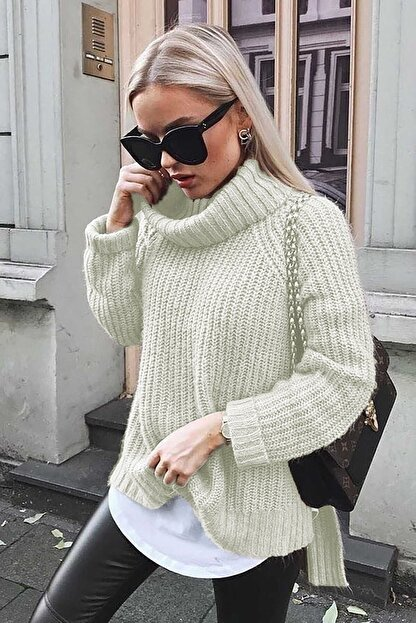 Madmext Kadın Ekru Mad Girls Oversize Yırtmaçlı Kazak Mg760