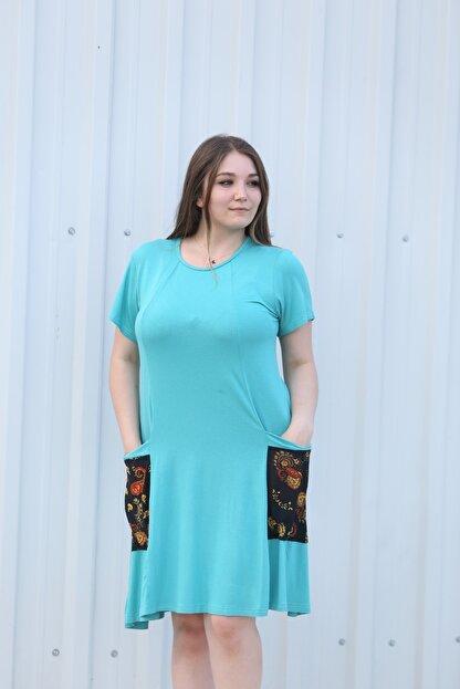 MGS LİFE Kadın, Renkli Cep Detaylı, Turkuaz Renkli, Büyük Beden Yazlık Elbise