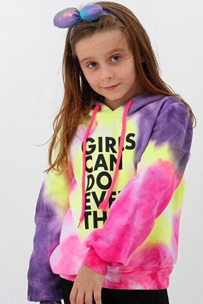 Enisena Mor Kız Cocuk Yıkamalı Kapşonlu Sweatshirt