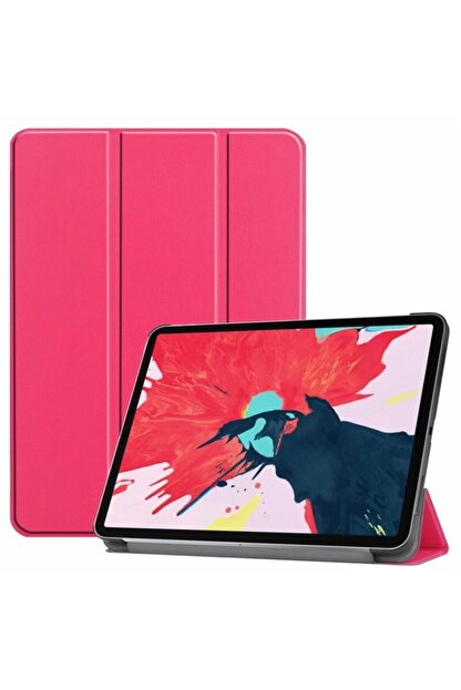 MOBAX Ipad Pro 11 2.nesil 2020 Kılıf Pu Deri Smart Case A2228 A2068 A2230 A2231 Koyu Pembe