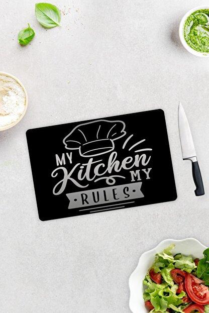 Decorita My Kitchen My Rules | Cam Kesme Tahtası - Cam Kesme Tablası | 20cm x 30cm
