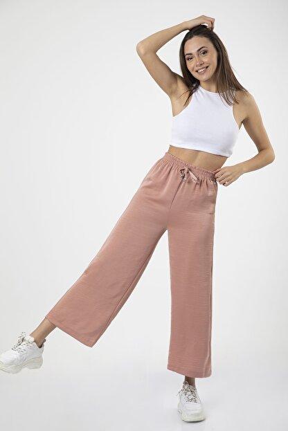 MD trend Kadın Pudra Bel Lastikli Bağcıklı Bol Paça Salaş Pantolon