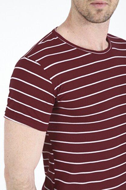 Bifery Erkek Bordo Çizgili Basic T-shirt