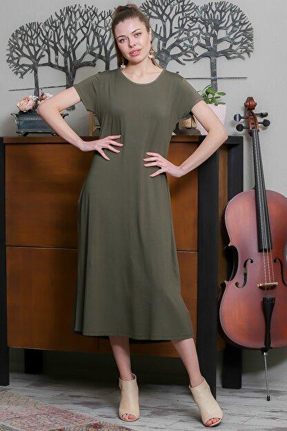 Chiccy Kadın Haki Sıfır Yaka Kısa Kollu Gizli Cepli Salaş Elbise M10160000EL95531