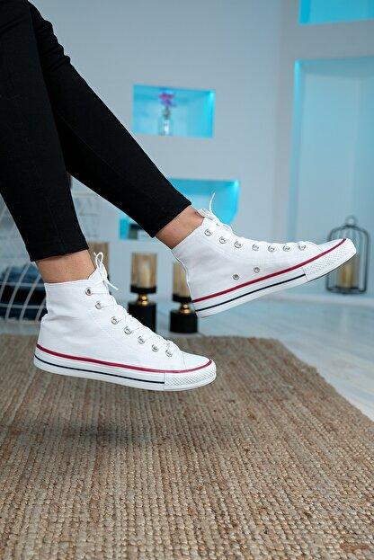 Bartrobel Unisex Beyaz Bilekli Keten Spor Ayakkabı