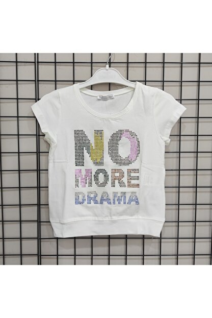 NK Kız Çocuk Ekru Reli Taşlı Drama T-shirt