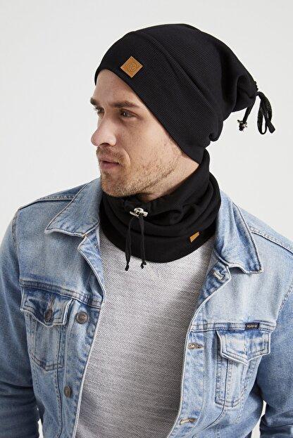 Butikgiz Erkek Genç Atletik Siyah Ip Detaylı Şapka Bere Boyunluk Takım -spor, Rahat, %100 Pamuklu,el Yapımı