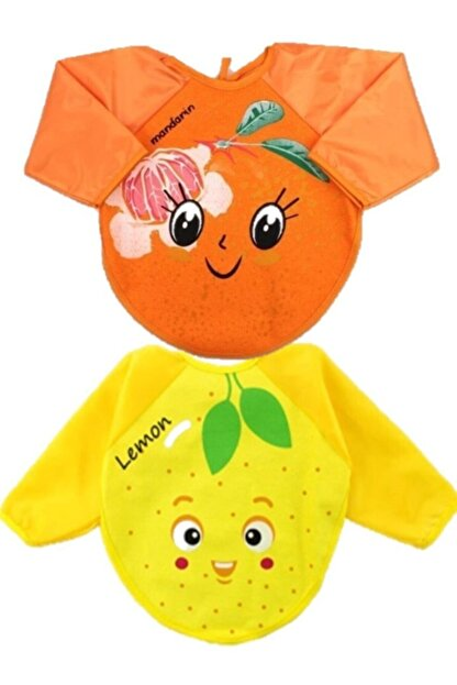 Belinay Mandalin Ve Limon Motif Giyilebilir Kollu Mama Önlüğü