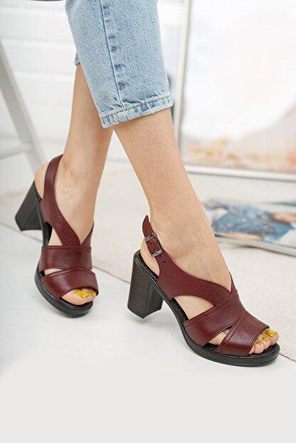 Diego Carlotti Kadın Bordo Hakiki Deri Günlük Klasik Topuklu Sandalet