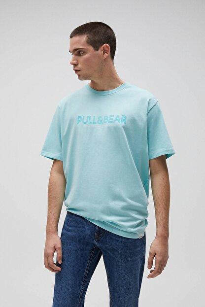 Pull & Bear Erkek Açık Yeşil Logolu Basic Sloganlı T-Shirt 04241706
