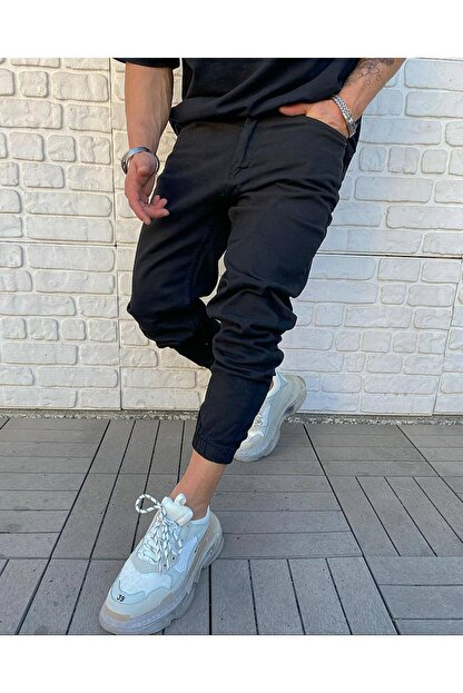Cocers Erkek Siyah Paçası Lastikli Jogger Pantolon