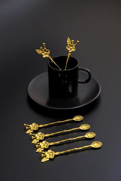 Planet X 6 Kişilik Lüx Çay Kaşığı Gold Japon Gülü