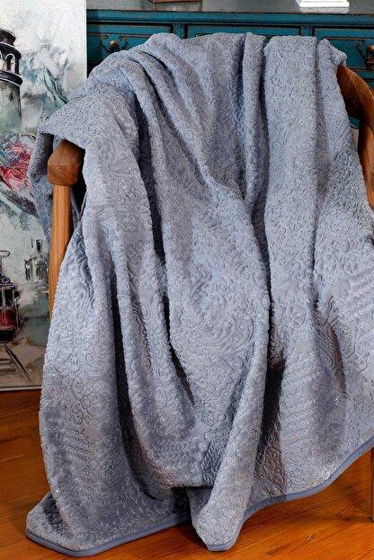 Elart Mavi Embos Battaniye Etnik Desen Çift Kişilik Battaniye 220x240cm