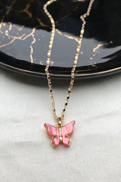 modadern Kadın Gold Pembe Taşlı Kelebek Kolye