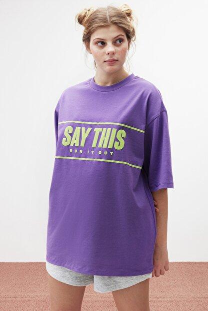 GRIMELANGE FIONA Kadın Mor Baskılı Oversize T-shirt