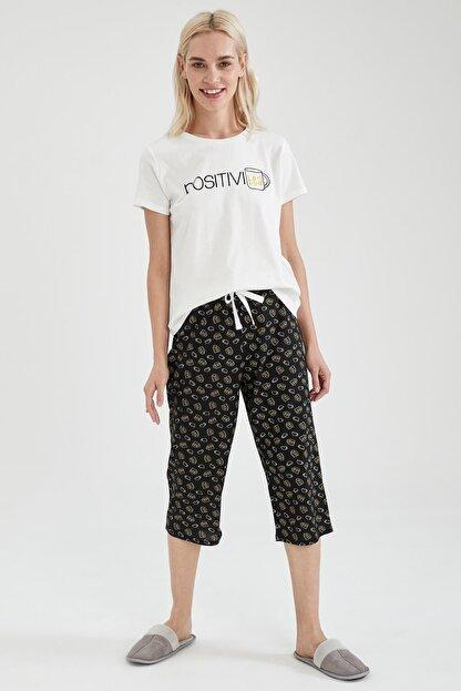 Defacto Kadın Siyah Slogan Baskılı Kısa Kol Pijama Takımı