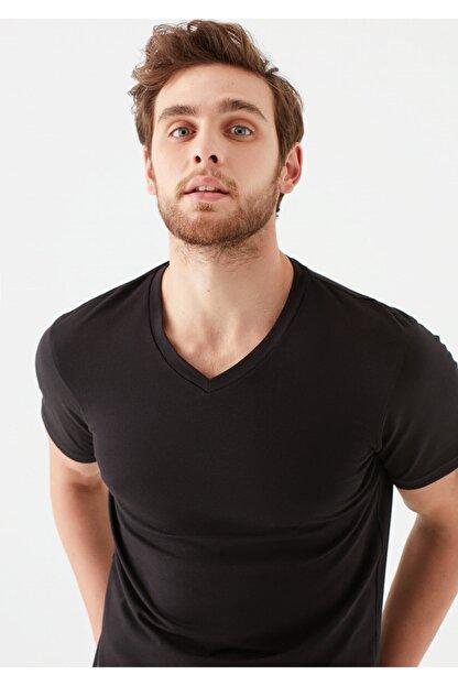 Mavi V Yaka Streç Siyah Basic Tişört