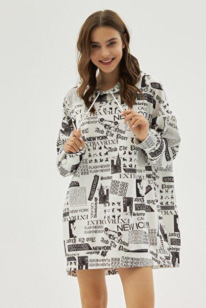Pattaya Kadın Beyaz Yazılı Baskılı Oversize Sweatshirt P20w-4127
