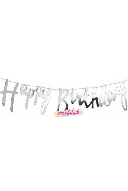 Partifabrik Happy Birthday Italik Gümüş Yazı Süs