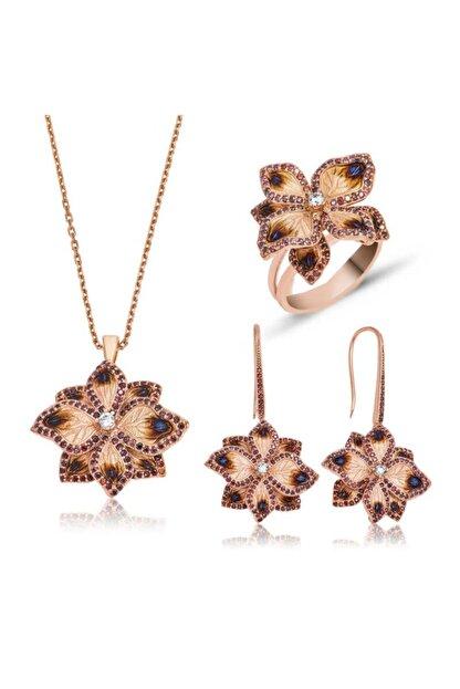 Gumush Kadın Gümüş Menekşe Çiçeği Set
