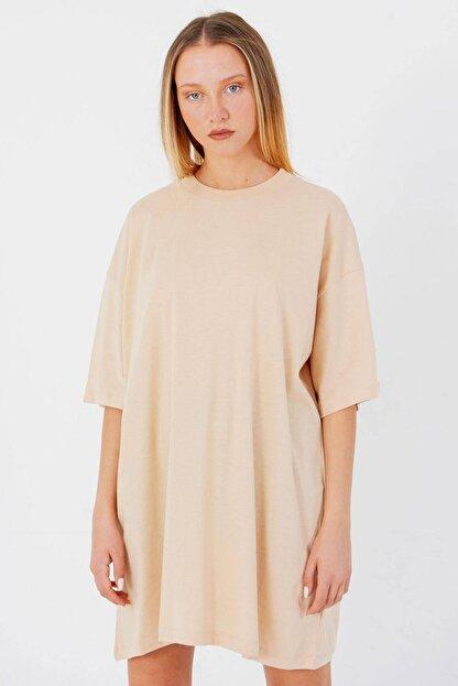 Addax Kadın Bej Oversize T-Shirt P0731 - G6K7 Adx-0000020596