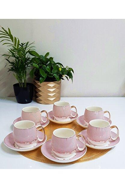 TİLLOEVDUNYASİ Renkli Porselen Nescafe Çay Fincan Takımı 6 Kişilik