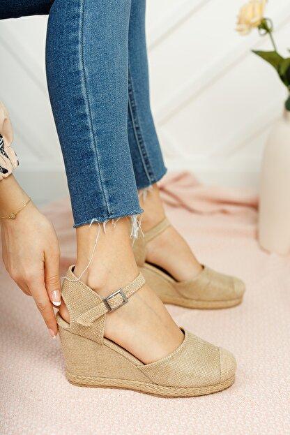 Moda Değirmeni Kadın Hasır Dolgu Topuklu Ayakkabı Md1013-120-0004