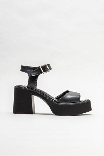 Elle Kadın Siyah Deri Topuklu Sandalet
