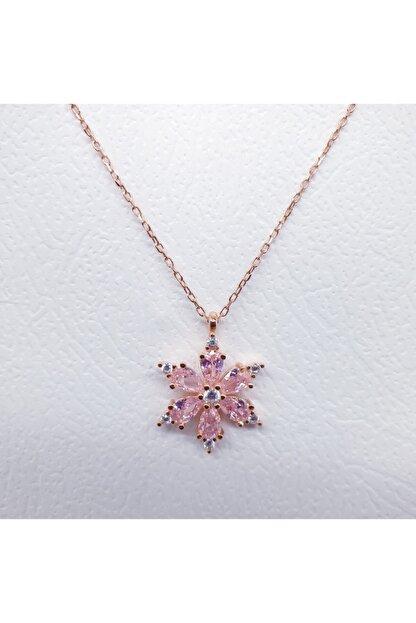 MAGRİB Kadın Pembe Lotus Çiçeği Gümüş Kolye