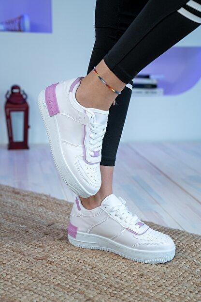Bartrobel Kadın Beyaz Lila Sneaker Günlük Ayakkabı