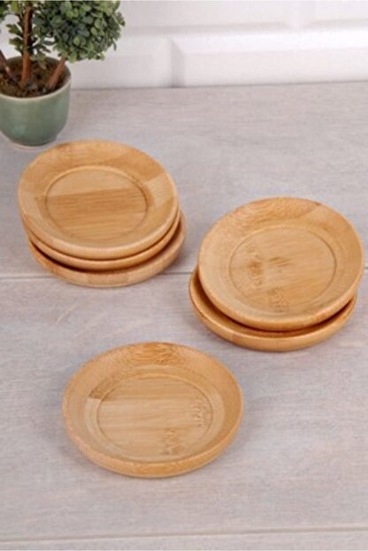 çerçi Bambu Yuvarlak Çay Tabak 6lı