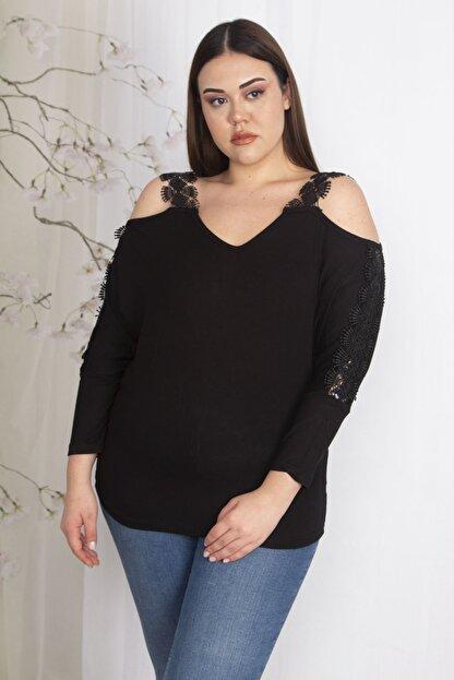 Şans Kadın Siyah Omuz Dekolteli Askı Ve Kolları Dantel Detaylı V Yakalı Bluz 65N23438