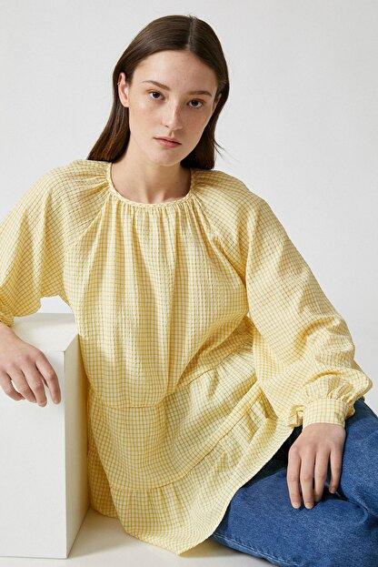 Koton Kadın Sarı Ekoseli Bluz 1YAK68815CW