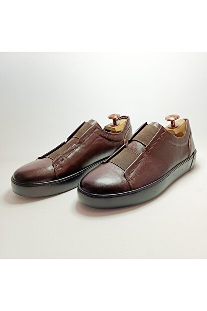 Ayakkabium Eng0102 Içi Dışı Hakiki Deri Yüksek Taban Kahverengi Erkek Sneaker Günlük Ayakkabı