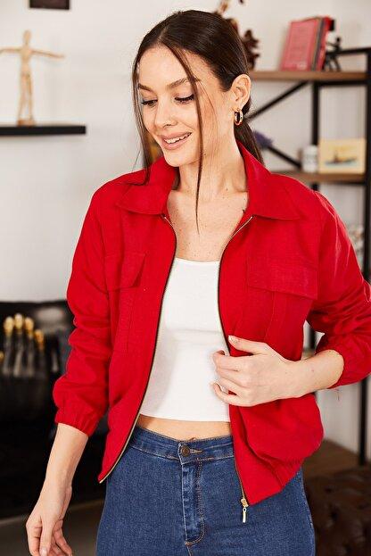armonika Kadın Kırmızı Cepli Fermuarlı Mevsimlik Ceket ARM-21K001182