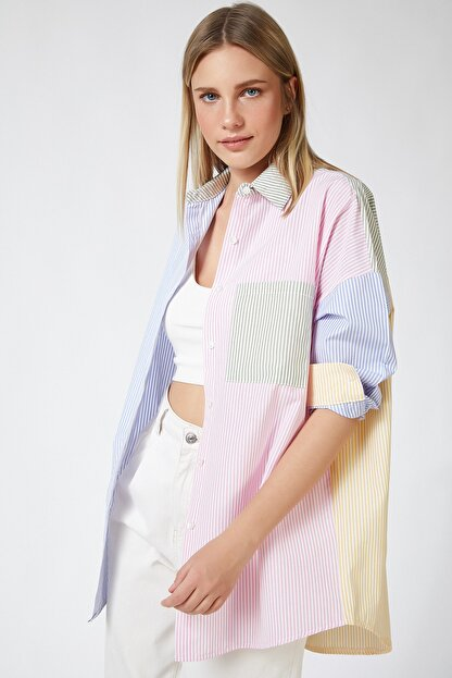 Happiness İst. Kadın Pembe Blok Renkli Çizgili Oversize Pamuklu Gömlek HF00202