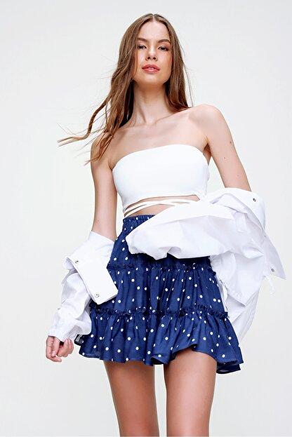 Trend Alaçatı Stili Kadın Lacivert Fırfırlı Mini Etek ALC-X5763